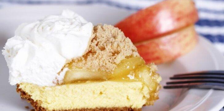 Nekeptas obuolių ir varškės pyragas