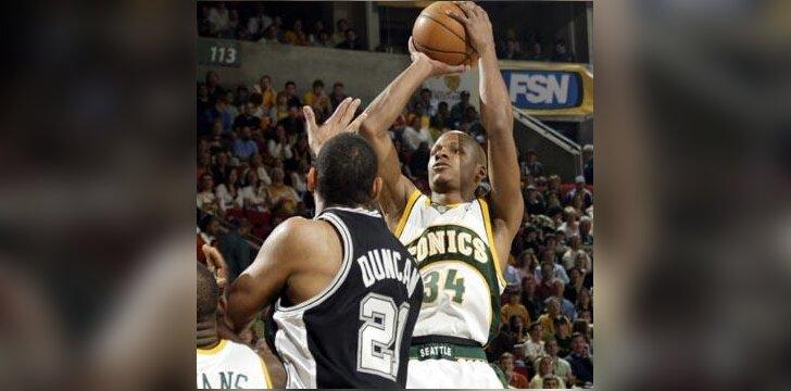 "Ray Allenas (""Supersonics"") meta per Timą Duncaną (""Spurs"")"