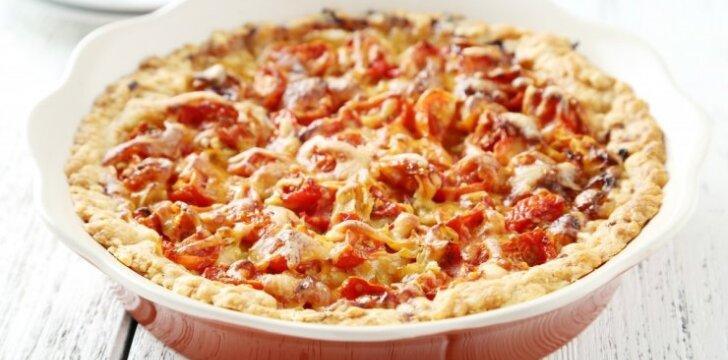 Varškės pyragas su pomidorais