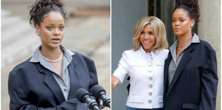 Šalia pirmosios Prancūzijos damos Rihanna atrodė it tikra kaliausė