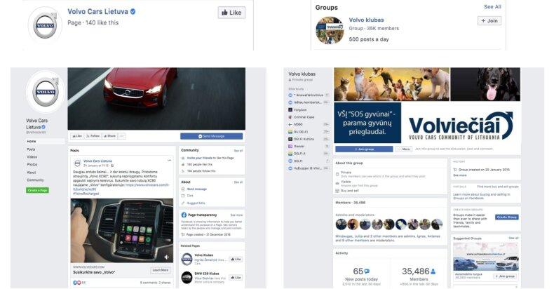 """Oficialaus """"Volvo"""" feisbuko puslapio ir grupės pavyzdžiai"""