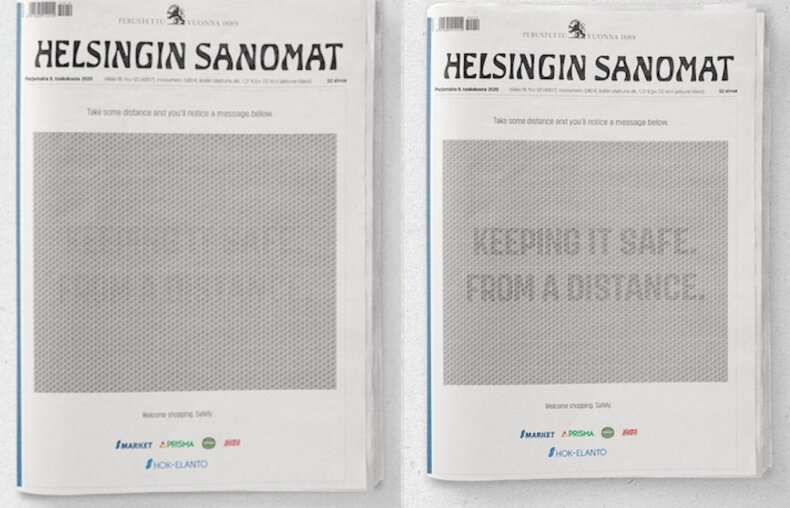 Socialinio atstumo reklama suomių laikraštyje