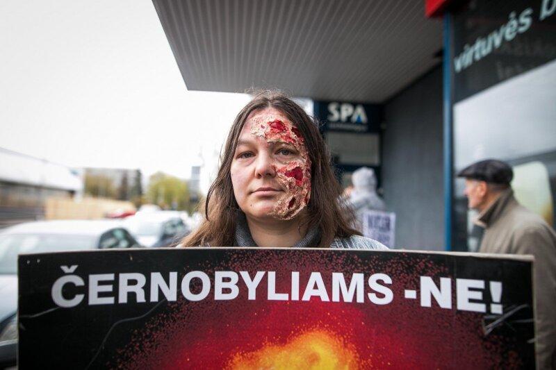 Lietuvos žaliųjų partijos organizuotas protestas prieš Astravo AE statybas
