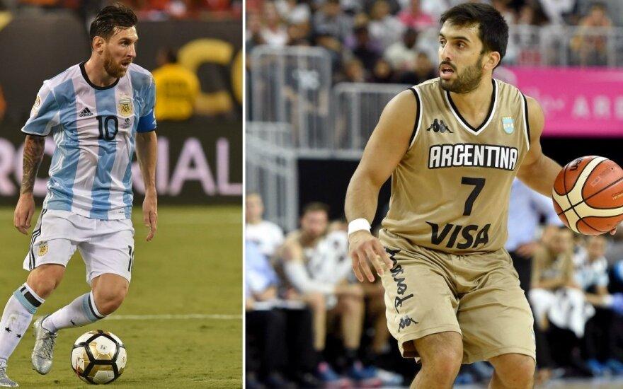Lionelis Messi ir Facundo Campazzo (AFP nuotr.)