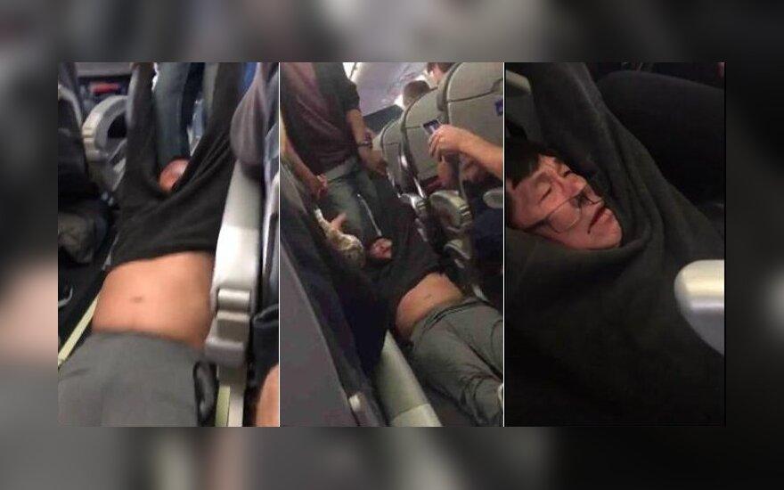 """""""United Airlines"""" vadovas dėl jėga ištempto keleivio nė vieno darbuotojo neatleis"""