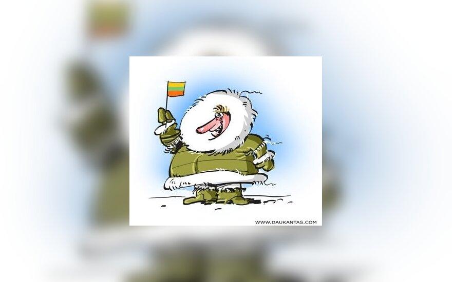 Eskimas, lietuvis, žiema, tapatybė, Lietuva, Šiaurės Europa, karikatūra