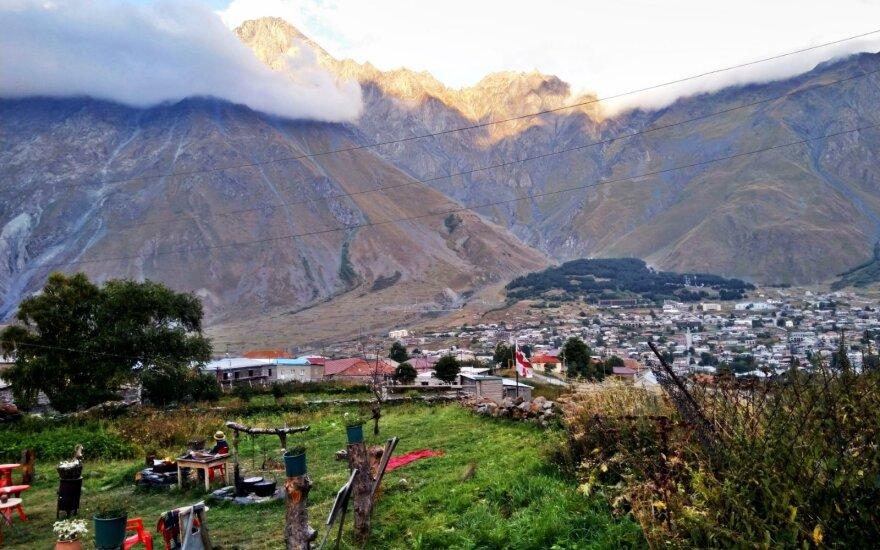 Stepanacminda vietovė nuo kalno viršūnės