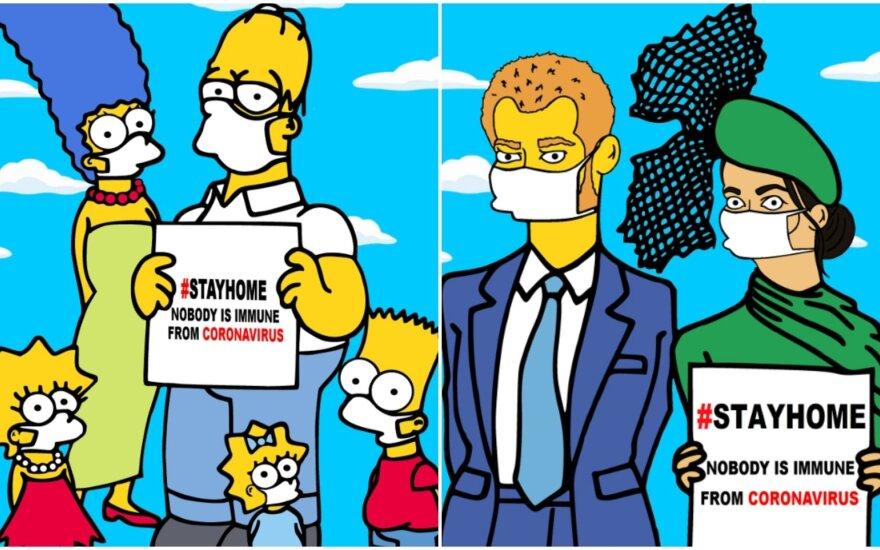 """""""Simpsonai"""" ir karališkosios šeimos atstovai – Megan Markle ir princas Harry. aleXsandro Palombo piešiniai"""