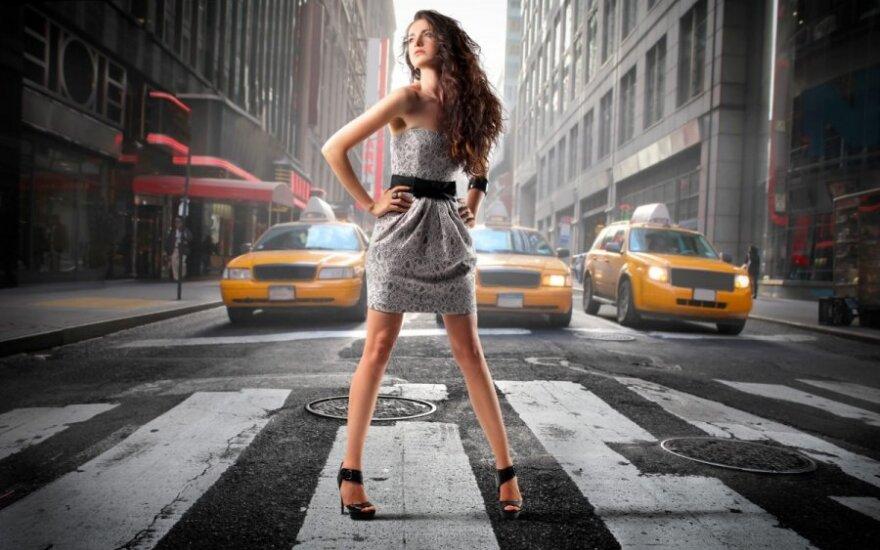 Mergina, gatvė, taksi, Niujorkas