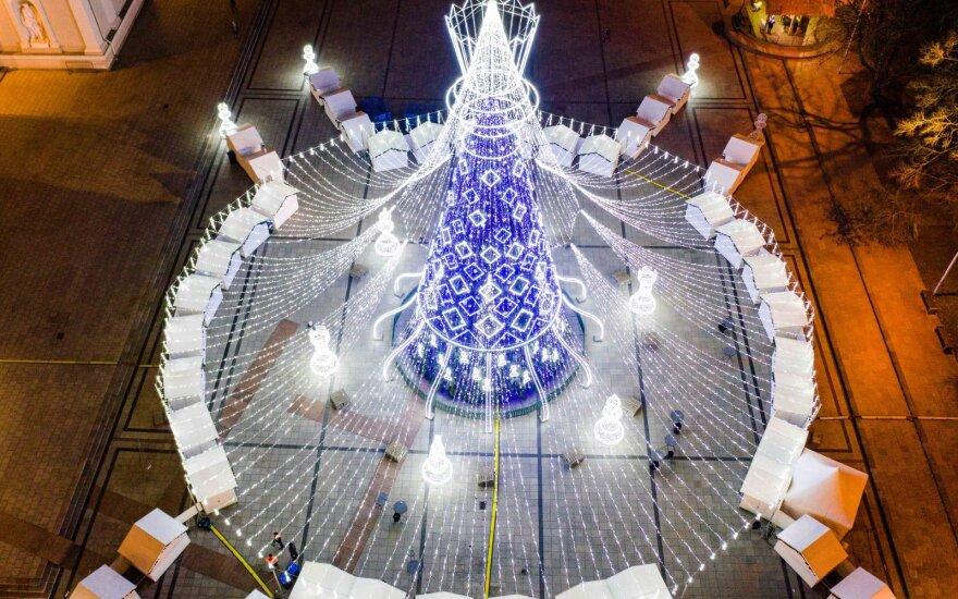 Vilniaus kalėdinė eglė iš paukščio skrydžio