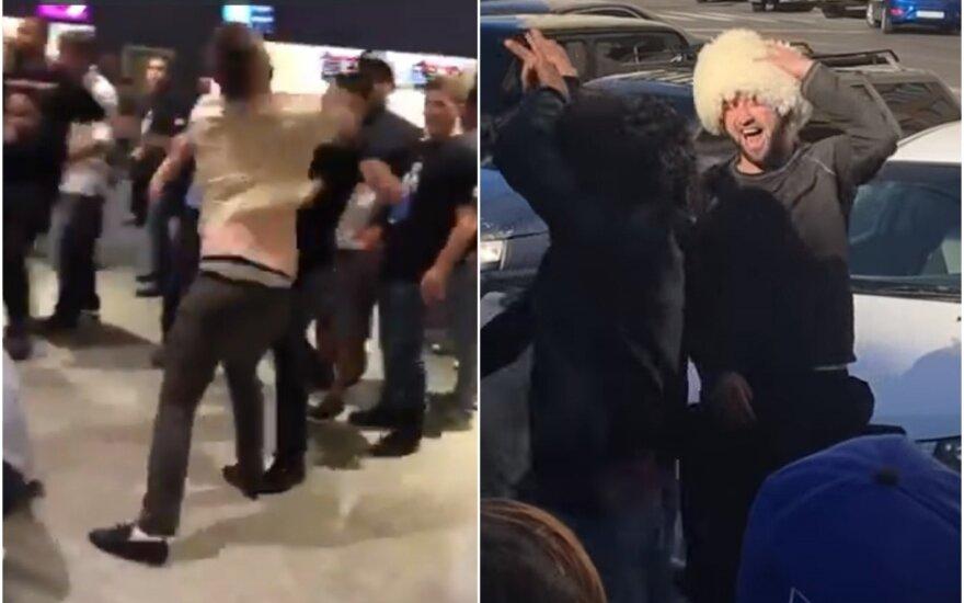 Muštynės tarp Ch. Nurmagomedovo ir C. McGregoro gerbėjų, dagestaniečių džiaugsmo šokis