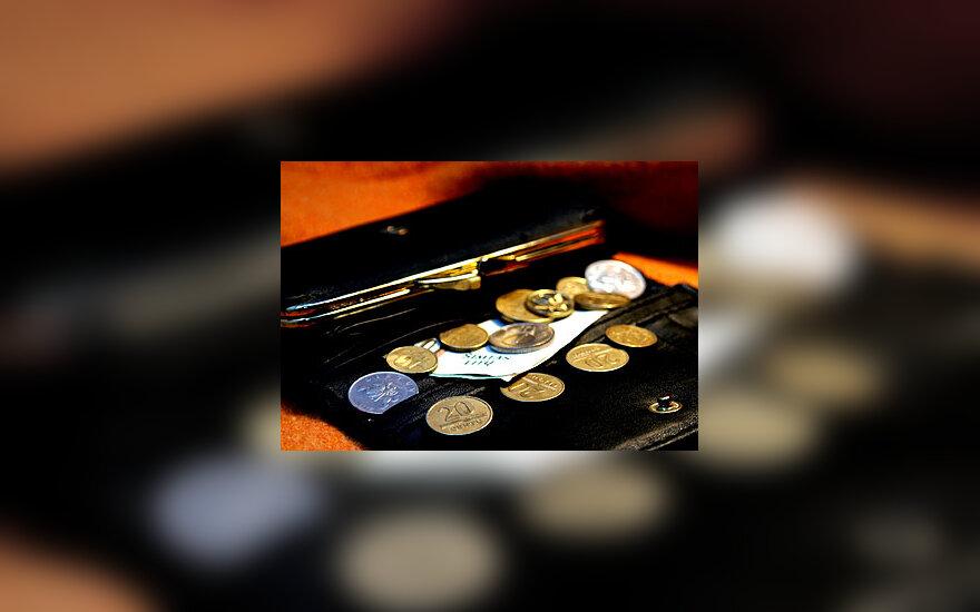 Litai, pinigai, banknotas, monetos, centai, piniginė