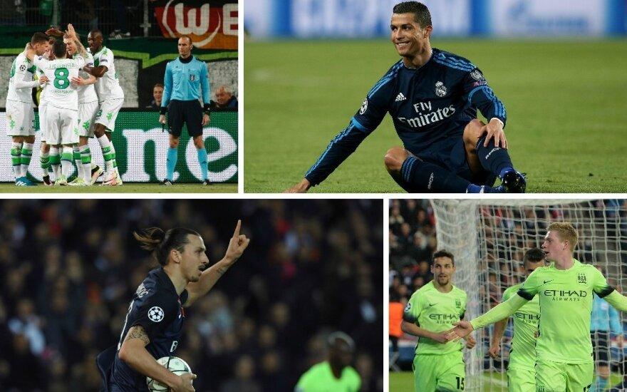 """""""Wolfsburg"""", Cristiano Ronaldo, Zlatanas Ibrahimovičius ir Kevinas De Bruyne"""