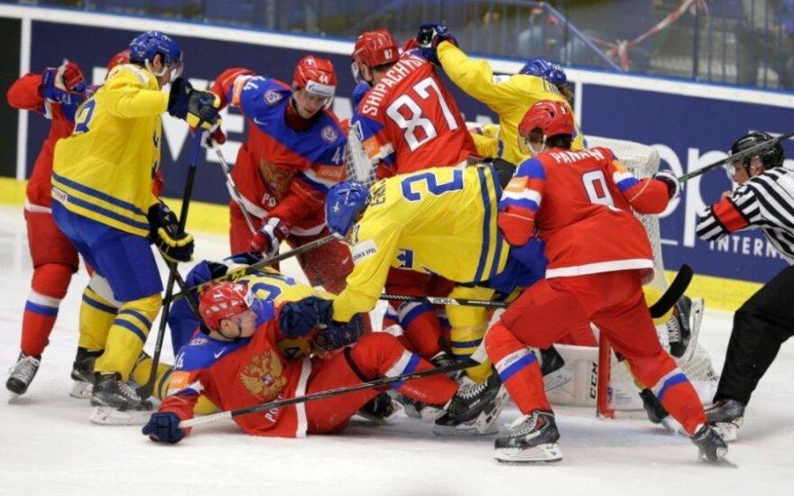 Pasaulio ledo ritulio čempionato ketvirtfinalis: Švedija – Rusija