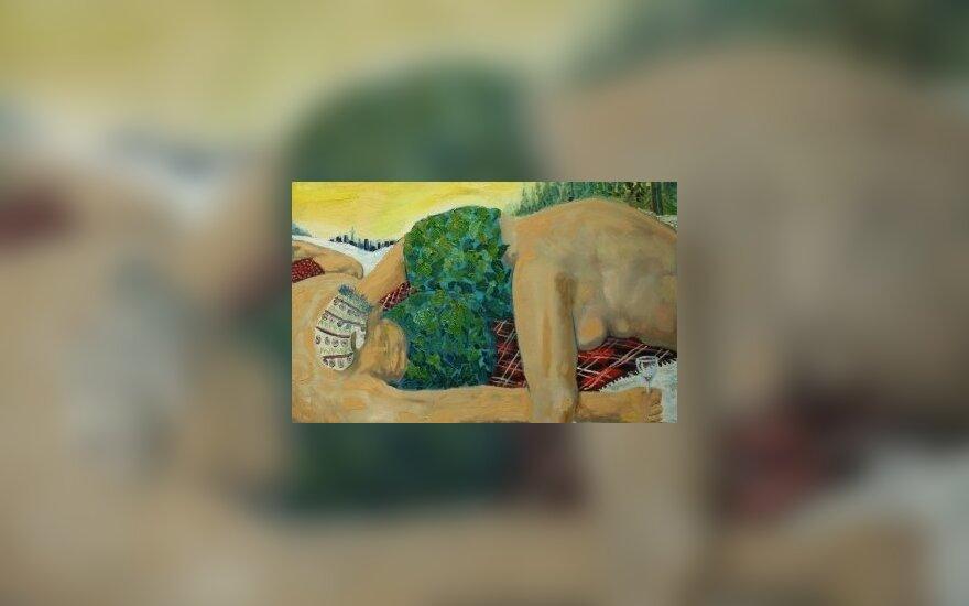 """Andriaus makarevičiaus tapytas paveikslas """"Po pirties, netoli Karoliniškių"""""""