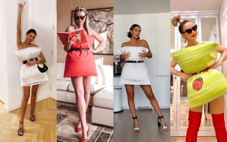 Žinomos moterys jungiasi prie pasaulyje populiaraus iššūkio: vietoj suknelės – pagalvė