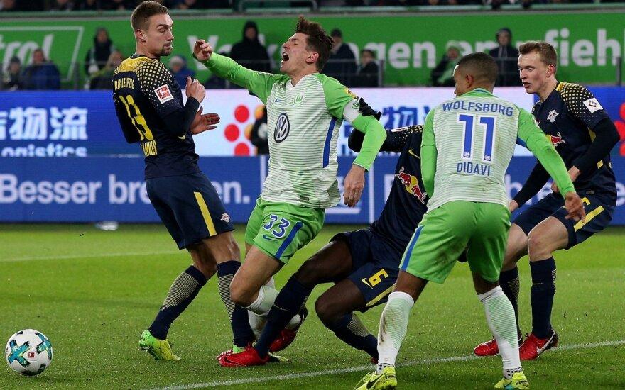 """Susitinka """"Leipzig"""" (tamsia apranga) ir """"Wolfsburg"""""""