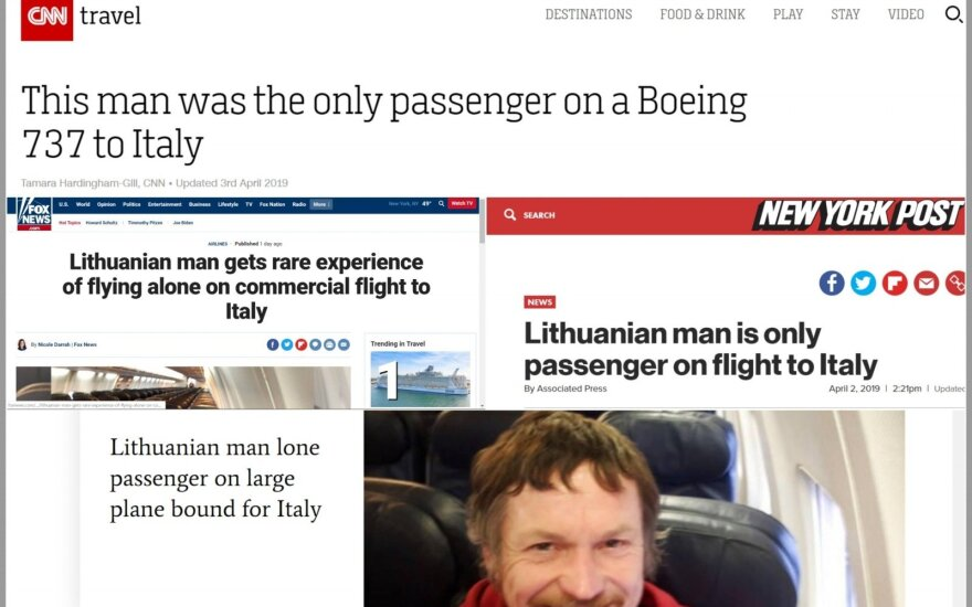 Vienintelio lėktuvo keleivio istorija sužavėjo pasaulį: jo skrydį aprašė įtakingiausi tarptautiniai leidiniai