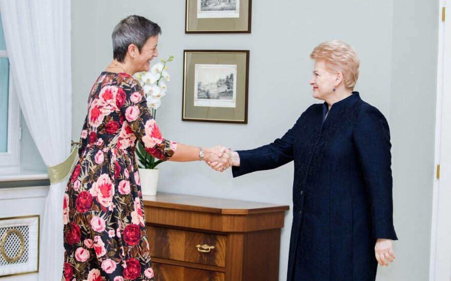 President D. Grybauskaitė meeting with EU Competition Commissioner M. Vestager in Vilnius