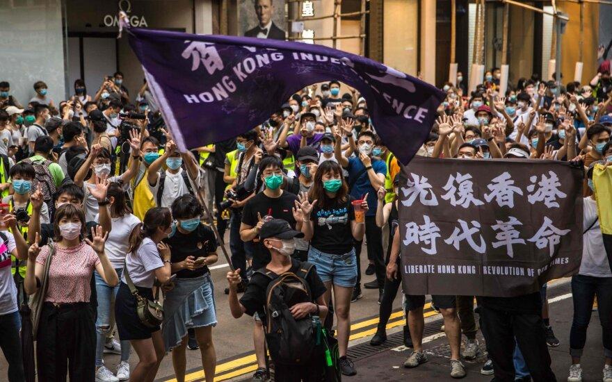 Honkongo policija sulaikė 180 protestuotojų, įskaitant 7 saugumo įstatymo pažeidėjus