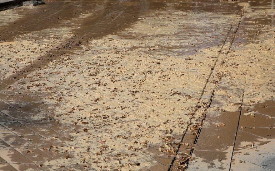 Nei pusvalandžio netrukęs lietus Kaune išpurvino Laisvės alėją