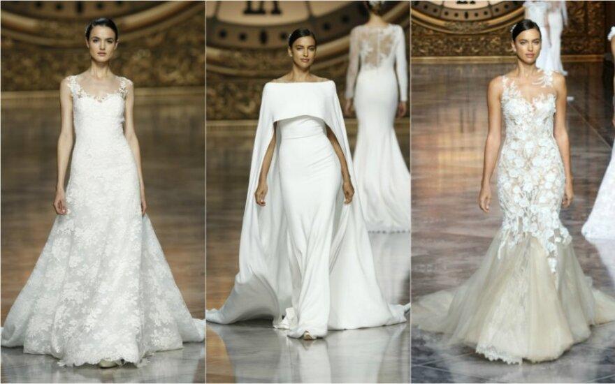 2015 m. vestuvių mados - nuo prisegamų tiulio sijonų iki romantiškų suknelių nuogais pečiais