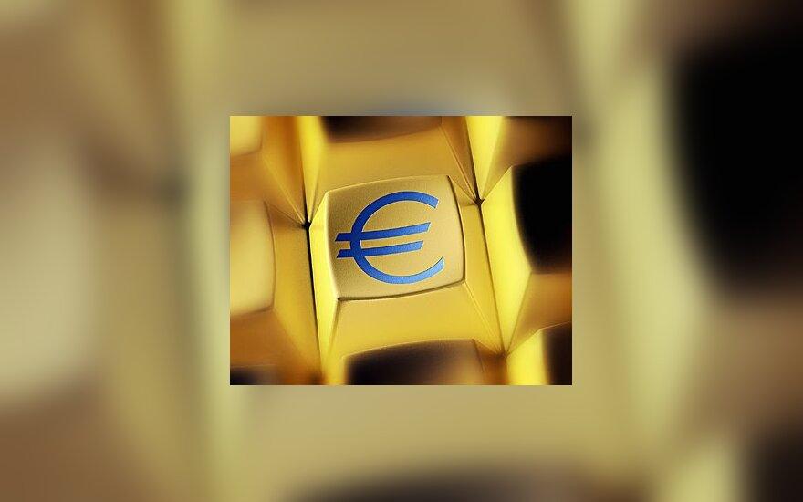 Eurai, pinigai, klaviatūra, verslas, finansai