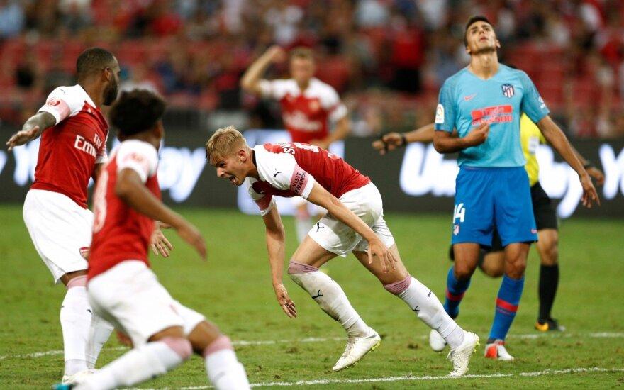 """Įspūdingas 17-mečio """"Arsenal"""" vunderkindo įvartis nublanko prieš """"Atletico"""" vartininko šou"""