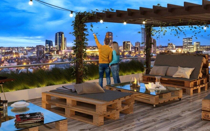 """Vaizdas iš """"Korių"""" terasos ant stogo. """"Korių"""" plėtotojų iliustr."""