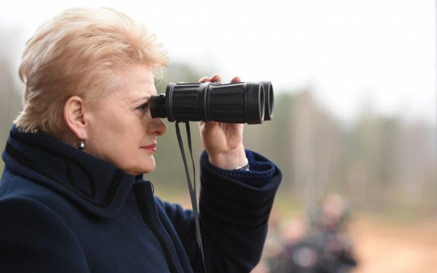 Dalia Grybauskaitė observing military exercise  Iron Sword 2014 in Pabradė