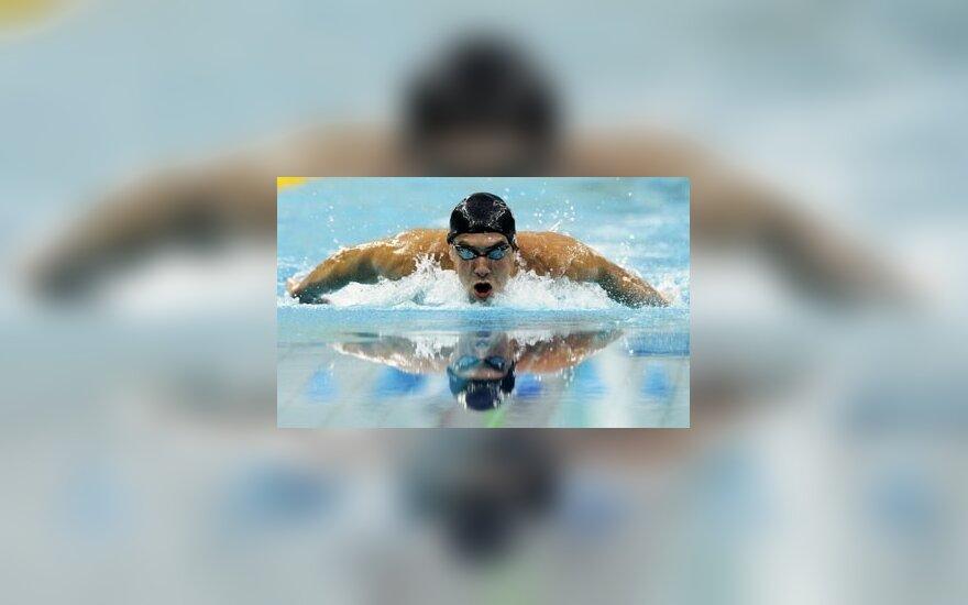 JAV plaukikas M.Phelpsas planetos rekordininku tapo jau penktoje rungtyje