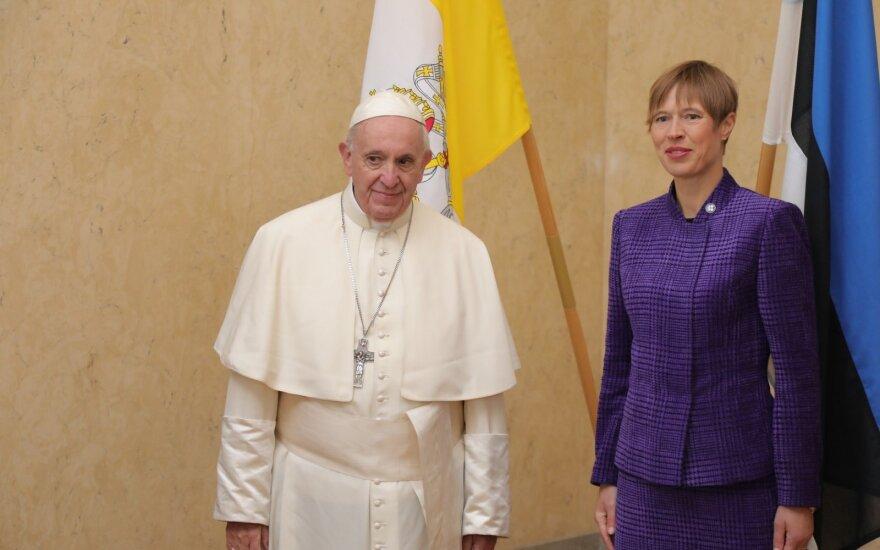 Pope Francis and Estonian President Kersti Kaljulaid