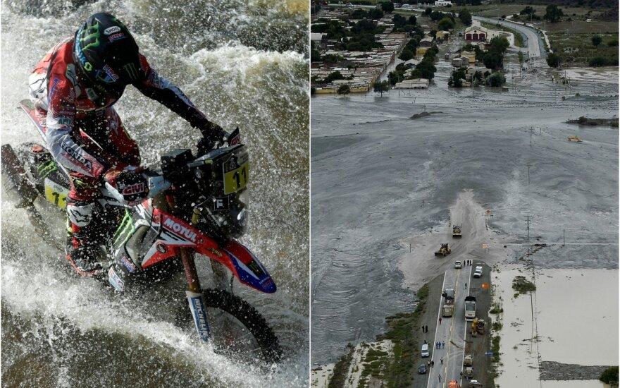 Joanas Barreda Bortas piktinasi Dakaro ralio organizatorių reakcija į stichiją (AP ir Reuters nuotr.)