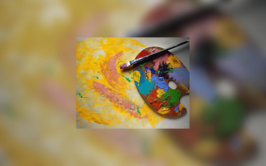 Teptukas, dažai, paletė, tapyti