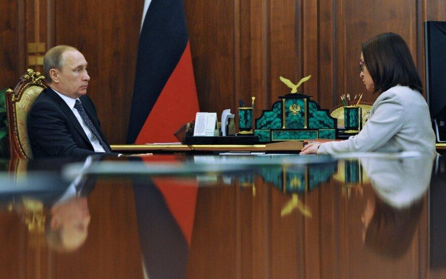 Vladimiras Putinas ir Rusijos Centrinio banko vadovė Elvyra Nabiulina