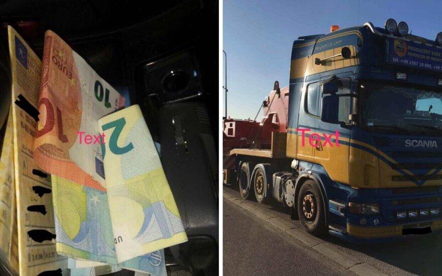 Vairuotojas iš Lenkijos lengva ranka padavė kyšį, nors baudžiama ir kaimyninėje šalyje
