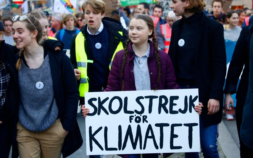 Greta Thunberg klimato kaitos protestuose