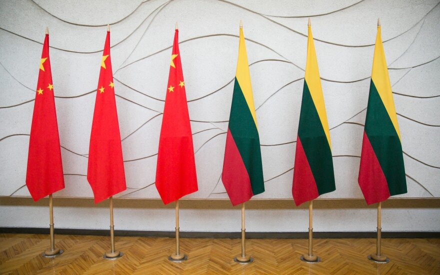 Chinese and Lithuanian flags