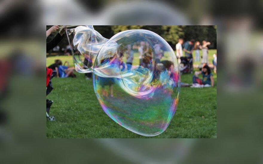 Sostinės Lukiškių aikštėje į dangų kilo muilo burbulai