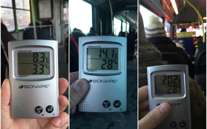 Keleivis matavo temperatūrą Kauno viešajame transporte – atskleidė, kuo geriausia važiuoti