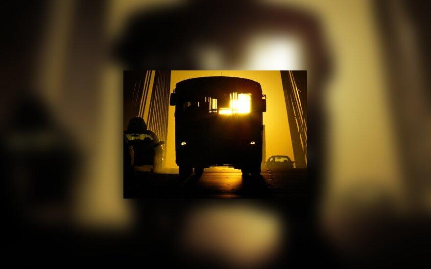 autobusas, gatvė, automobiliai, saulėtekis