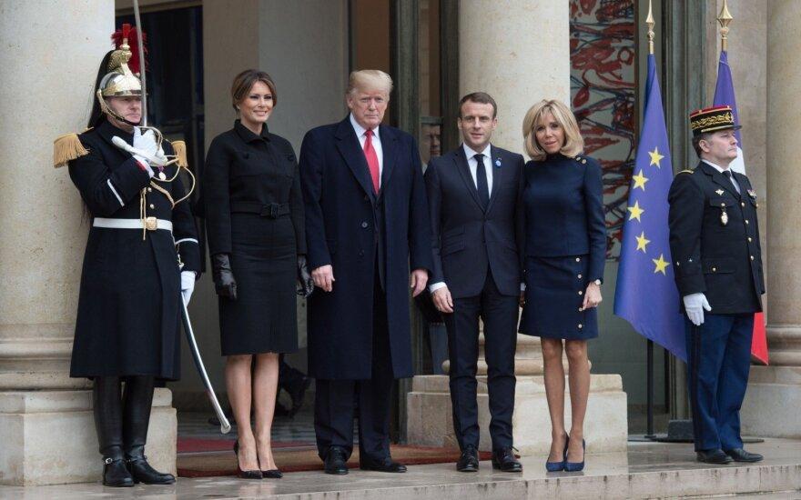 Konflikto dėl Europos kariuomenės fone Macronas ir Trumpas demonstruoja vienybę