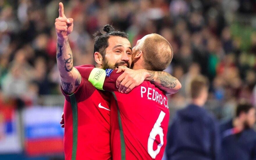 Portugalijos salės futbolo rinktinės žaidėjai, Joao Matos (kairėje) ir Pedro Cary
