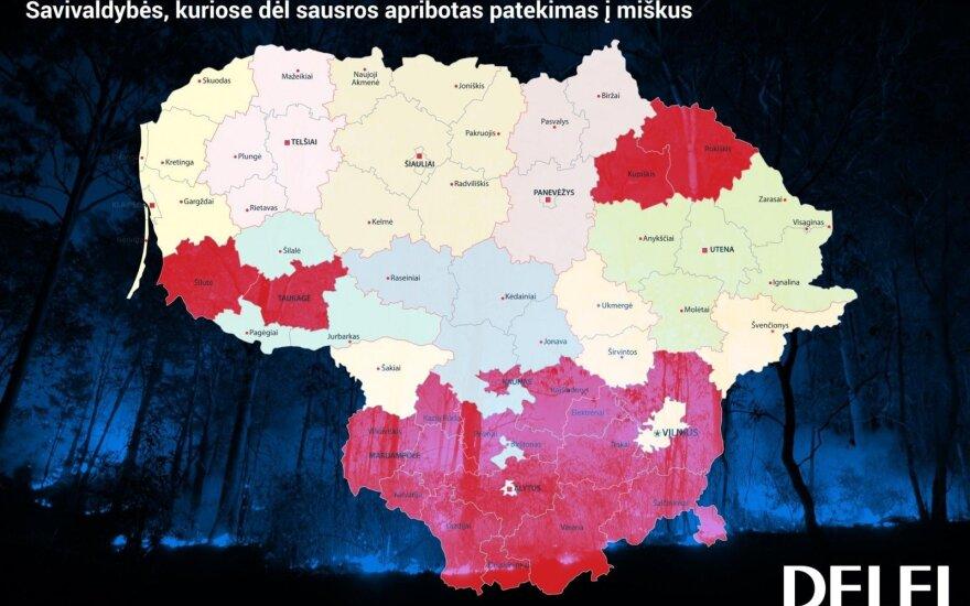 Patekimą į miškus apribojusių savivaldybių žemėlapis