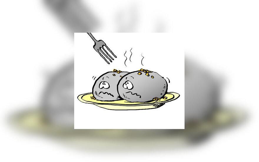 Cepelinai, lietuviška virtuvė - karikatūra