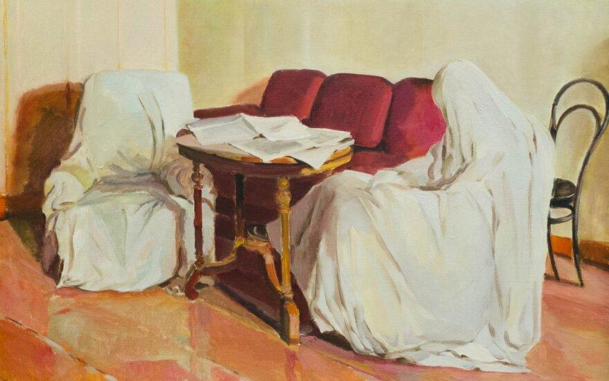 """Pranas Lapė (1921–2010) - """"Leninas Smolnio instituto bibliotekoje [Isaako Brodskio kūrinio parafrazė]"""" (1972)"""