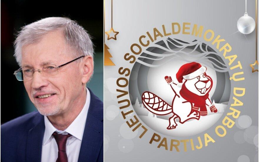 Gediminas Kirkilas ir naujasis LSDDP simbolis - bebras.