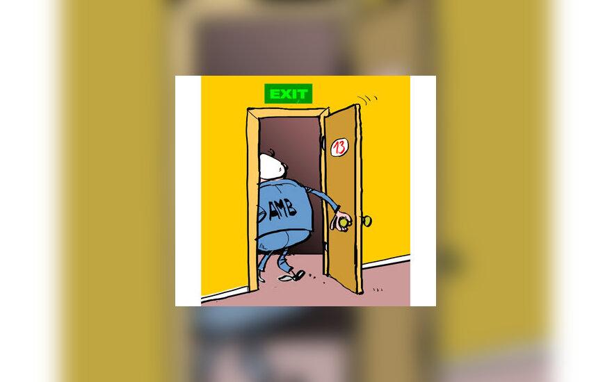 Algirdas Brazauskas atsistatydina - karikatūra