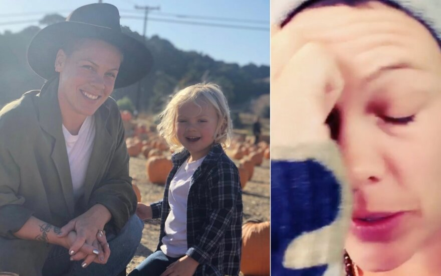 Dainininkė Pink su sūnumi Jamesonu