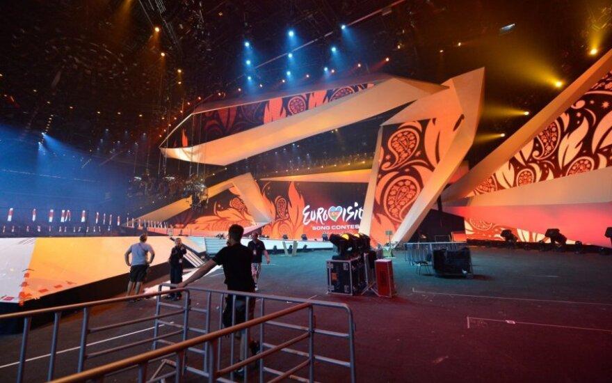 """""""Eurovizijos"""" scena Baku Crystal Hall arenoje"""